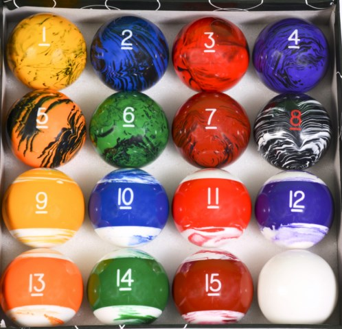 Tech Marble Style Pool Table Billiard Ball Set